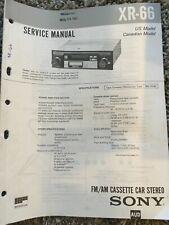 Original Sony XR-66 FM/AM Cassette Car Stereo Service Manual