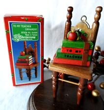 Vintage Christmas Around The World Ornament 1987 To My Teacher Wooden chair Book