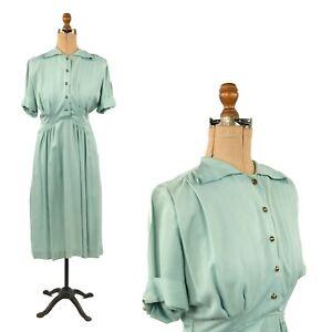 Vintage 40s Mint Green Pastel Soft Rayon Short Sleeve Art Deco Day Dress S M