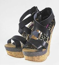 "PRECISE Fashion Wedge  6 inch High Heel 2"" Platform Women Party Shoes Black 9"