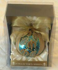 COLLECTORS SERIES BEADED GLASS CHRISTMAS ORNAMENT ORNAMENTS AQUA FUSCHIA BALL