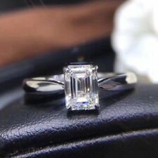 Plated Engagement Ring For Women Solitaire 3.00Ct White Emerald Moissanite White