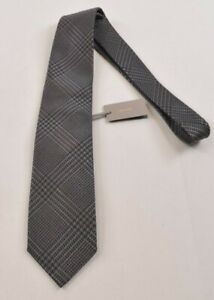 Tom Ford NWT Neck Tie In Gray and Black Exploded Houndstooth Plaid Wool/Silk