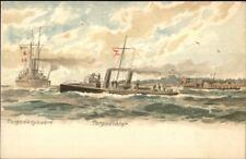 German Naval Ships Torpedo Boat & Battleship J. Hugg c1900 Postcard