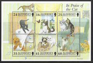 Alderney 1997 Domestique Chats Miniature Feuille non Montés Excellent État , MNH