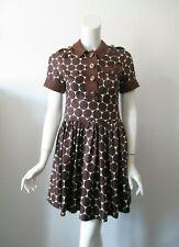 Marc by Marc Jacobs Chocolate Brown Polka Dot Short Sleeve Silk Dress 4