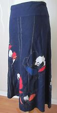 MONSOON Blue Washed Linen Summer Holiday Flare Aline Applique Skirt 12 W32 L29.5