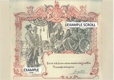 COPY OF A WWI HONOURABLE DISCHARGE CERTIFICATE MADE TO ORDER IN A4 SIZE