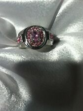Pink Topaz Created WITH RHINESTONE ACCENTS WEDDING COCKTAIL Ring RHODIUM PLATED