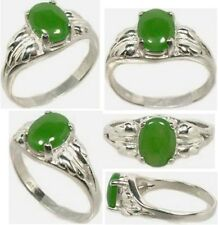 19thC Antique 1ct Jade Ancient China Royal Gem of Immortality Lucky Amulet .925
