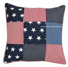 Kissenbezug USA Patchwork 45x45 rot blau Paspel Sterne Loft