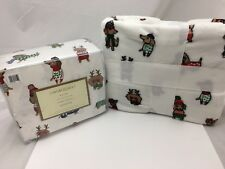 4 Pc Cynthia Rowley QUEEN Sheet & Throw Blanket Set Christmas Dachshund Dogs New