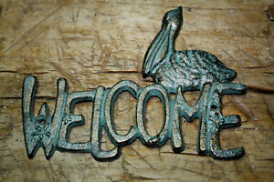 Cast Iron Antique Style Pelican WELCOME Plaque Nautical Sign Wall Decor Beach