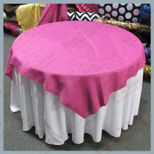 Table Overlay Square Vintage Linen 55 X 55 inches Sold By The Yard Fuchsia Pink