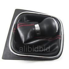 Red Stitch Manual Leather Knob Gear Shift Knob for VW GOLF 6 VI MK6 Jetta 5 Mk5