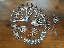 19th Century Christofle France RUBANS Ornate Leaves & Ribbons Silver Plate 34 pc