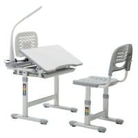 Grey Adjustable Children's Study Desk Chair Set Child Kids Table with Desk Lamp