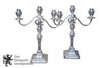 Antique Georgian Silverplate Candelabras English Candlesticks Rams Head MS Rau