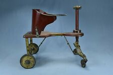Antique VICTORIAN CHILDS WOOD & METAL KIDDIE WALKER ORIGINAL RED PAINT #08261