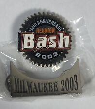 HARLEY DAVIDSON 100th ANNIVERSARY REUNION BASH AND MILWAUKEE ROCKER PINS NEW!!!