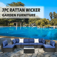 7 Pcs Patio Furniture Couch Outdoor Rattan Wicker Cushioned Sectional Sofa Set