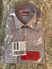 New Authentic Men Hugo Boss Purple Checked Dress Shirt Sharp Fit 16 34/35 $195