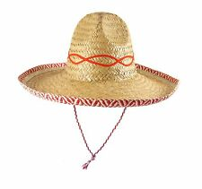 MEXICAN SOMBRERO FANCY DRESS HAT (RED) - Single, 6 and 12 pack available