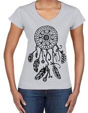 Dreamcatcher Native American Hipster Large Print V Neck Women's T-Shirt