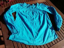 H&M süße bestickte Bluse Tunika Hängerchen Carmen Ausschnitt türkis blau S 34/36