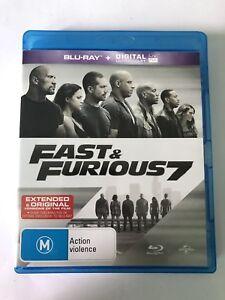 Fast & Furious 7 (Blu-ray, 2015) Like New Movie 🍿 Rated M Paul Walker 🚙
