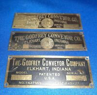 Lot Of 3) Vintage The Godfrey Conveyor Co. BrassTags Elkhart Indiana Advertising