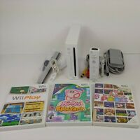 Nintendo Wii Console White w/ Kirby Wii Play + Controller & Cables Bundle Lot