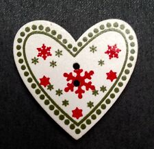 20 CHRISTMAS HEART SHAPED SNOWFLAKE WOODEN BUTTONS FOR CARDS CRAFT & DECORATIONS