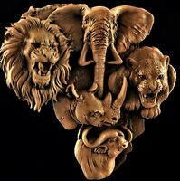 Hunting the Big Five 3d model relief for cnc in STL file format