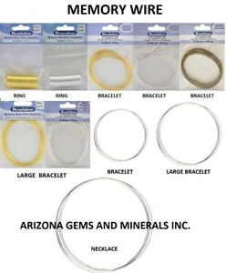 MEMORY WIRE ROUND RING & ROUND & OVAL  BRACELET STAINLESS- SP. & GP 10 STYLES