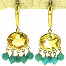 7 CT CITRINE & TURQUOISE EARRINGS 14K YELLOW GOLD FINE NATURAL ORANGE OVAL CUT