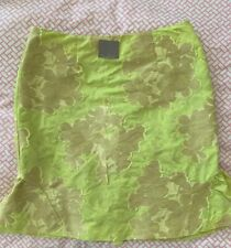 Anthropologie Leifsdottir Ruffled Jacquard Pencil Skirt Floral Size 8 Lime