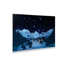 My Village Canvas Fabric On Frame, Christmas Village, mountain landscape at nigh...