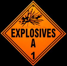 EXPLOSIVES A-1, 4th OF JULY, FIREWORKS, TNT, DOT, BOMB: OLD VERSION DOT PLACARDS