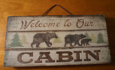 WELCOME TO OUR CABIN Rustic Black Bear Lodge Wood Plank Home Decor Sign NEW