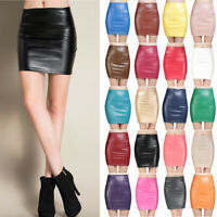 Faux Leather Fitted Bodycon Pencil Short Mini Skirt High Waist Tight S-XL