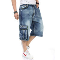 Mens Jeans Shorts Denim Cargo Shorts Relaxed Fit Baggie Loose Big & Tall 32W-46W
