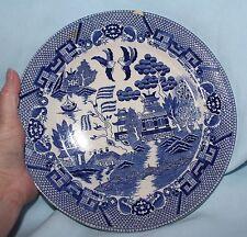 plate antique blue willow 1800's Japan house, boat, bridge, 2 birds blue 9 1/2
