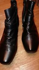 M&S BLACK SOFT LEATHER WIDE FIT BOOTS. SIZE ,  ,,6 RRP£59