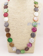 """33"""" long 20mm round Coin shell multi-color mother of pearl pendant necklace"""