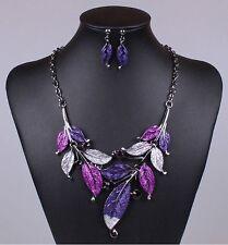 Fashion Vintage Women Crystal Pendant Collar Bib Statement Necklace Earrings Set