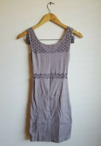 Kookai Lace Mesh Panel Bodycon Dress with Cutout Back Detail Size 1 - Brown