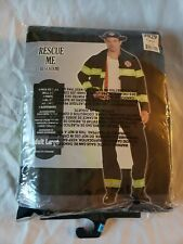 Rescue Me Firefighter Costume Pants Jacket Suspenders Size L Firemen