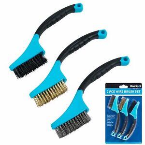 BlueSpot 3pc Soft Grip Mini Brush Set Nylon Brass Steel For Cleaning Metal Rust