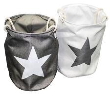 Wäschekorb Wäschesammler mit Sternmotiv Grau / Weiß 2er Pack